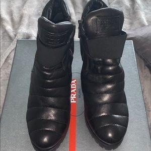Prada Nappa Sport 1  Black Booties Size 40